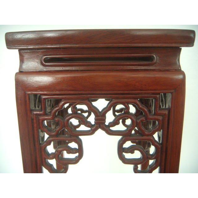 Ornate Chinese Rosewood Display Stand - Image 5 of 8