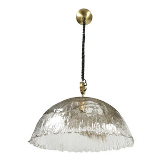 Italian Hand Blown Pulegoso Glass Dome Chandelier