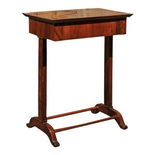Austrian 1840s Petite Biedermeier Side Table with Frieze Drawer and Trestle Base