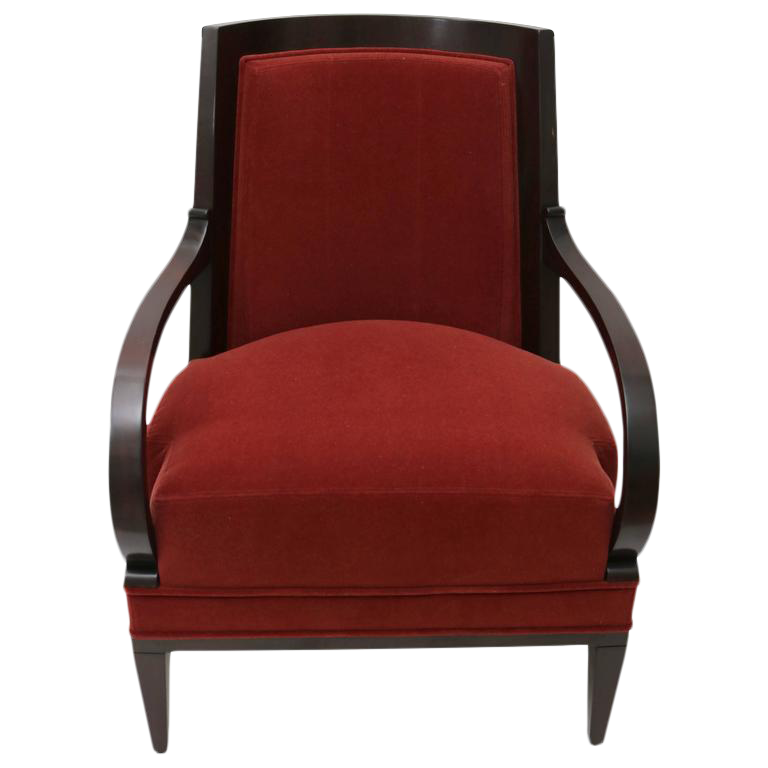 Andre Arbus Armchair For William Switzer In Rust Mohair Upholstery Fabric