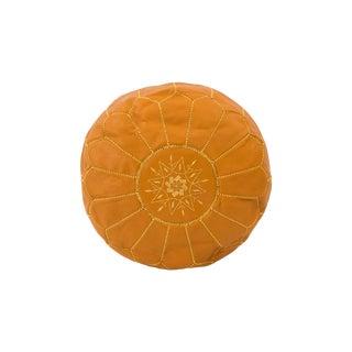 Saffron Moroccan Leather Pouf Ottoman