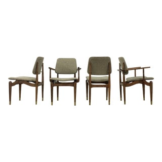 Mid-Century Modern Tweed & Wood Dining Chairs- Set of 4