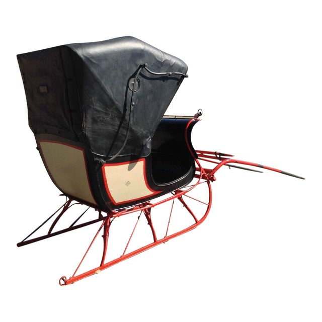 Antique Doctor Sleigh Covered Christmas Sled - Image 1 of 7