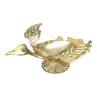 Vintage Mid-Century Modern Brass Bird Ashtray Moving Wings