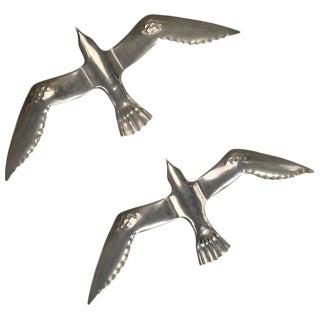 Mid-Century Aluminum Winged Gull Wall Lights / Sculptures - A Pair