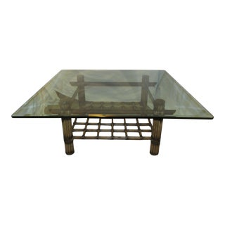 McGuire Style Glass & Wrapped Bamboo Coffee Table