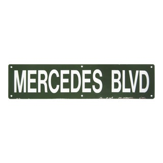 Green Porcelain Mercedes Street Sign