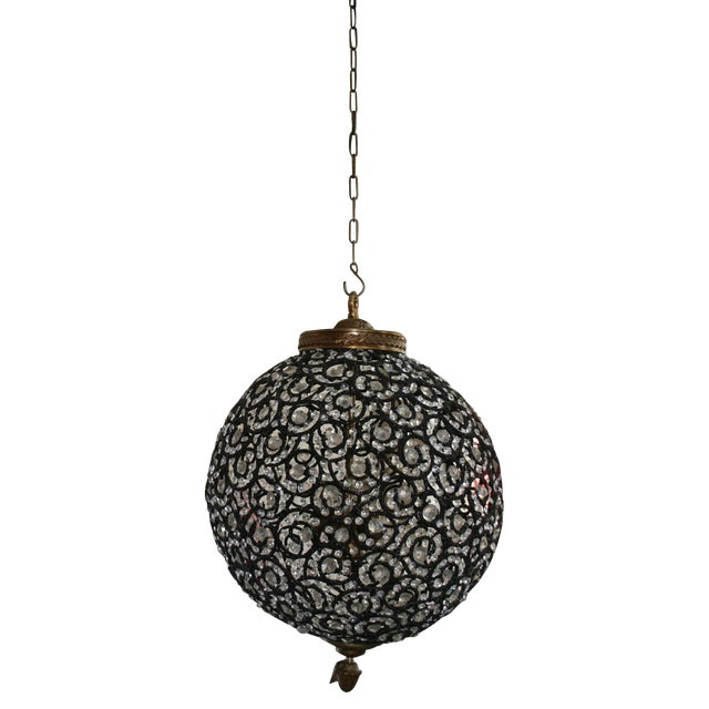 Large Crystal Black Swirl & Brass Chandelier - Image 1 of 5