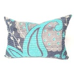 Image of Aqua and Navy Kantha Quilt Pillow