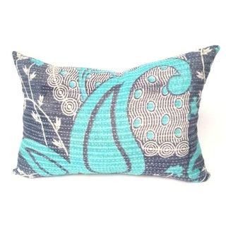 Aqua and Navy Kantha Quilt Pillow