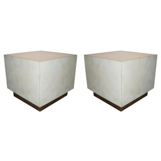 Mid Century Cube End Table Baughman Style - Pair