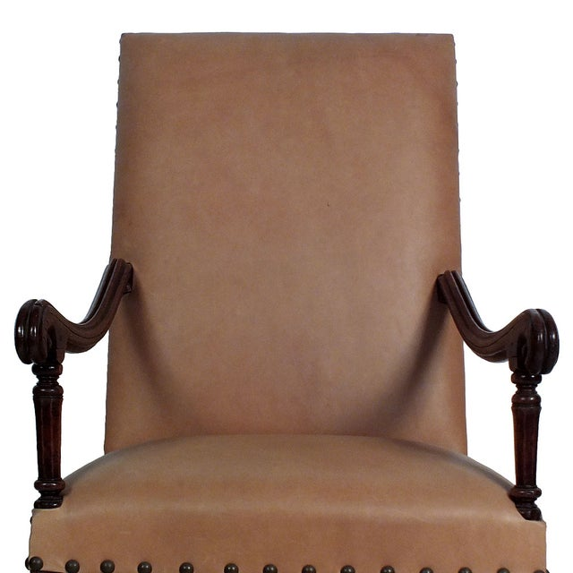 Image of French 19th C. Leather High Back Armchair