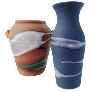 Free-Form Studio Pottery Vases - A Pair