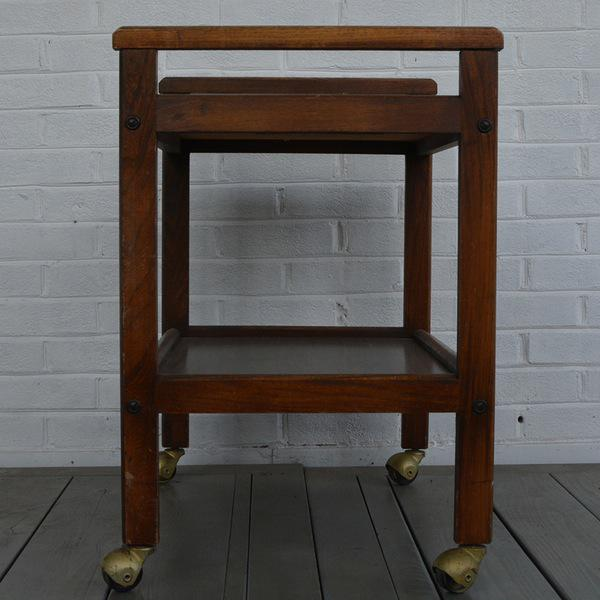 Walnut Two-Tiered Bar Cart - Image 8 of 11