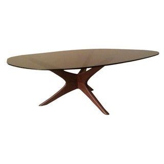 Mid-Century Modern Walnut Smoke Glass Coffee Table