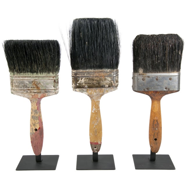 Vintage Paint Brushes on Iron Stands - Set of 3 - Image 1 of 2