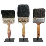 Image of Vintage Paint Brushes on Iron Stands - Set of 3