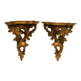 Vintage Italian Gold Gilt Scrolled Leaf Design Wood Wall Shelves - a Pair