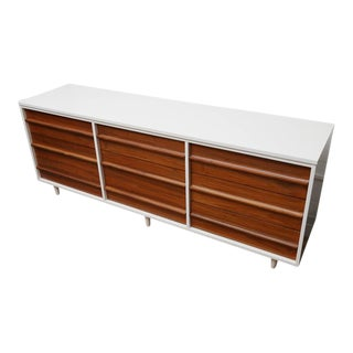 1960s American Vic Art Credenza in Natural and White Lacquer