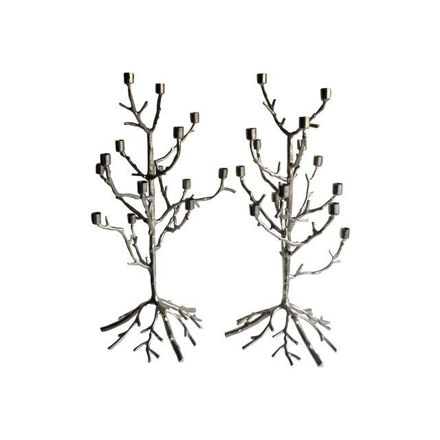 Image of Cast Aluminum Tree Candleabras - Pair