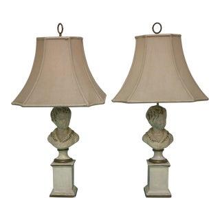 Antique Plaster Bust Lamps - A Pair