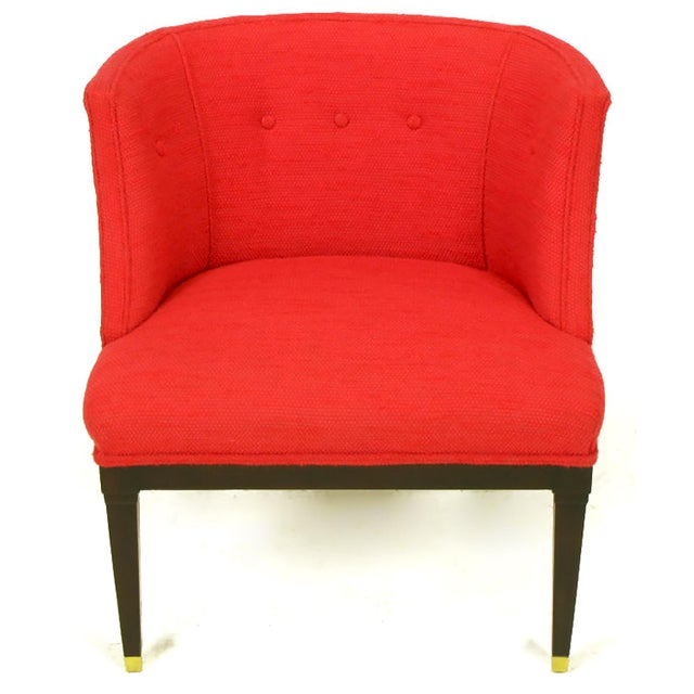 Pair of Button Tufted Red Wool and Dark Walnut Pull Up Wing Chairs - Image 4 of 10