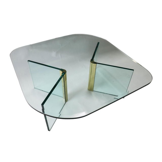 Vintage Pace Collection Rounded Glass Brass Coffee Table - Image 2 of 10