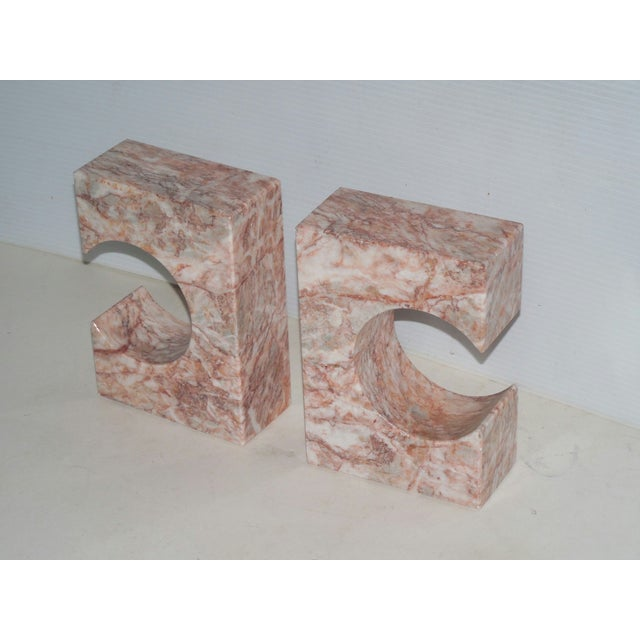 Image of 1980's Stylized Onyx Bookends - A Pair