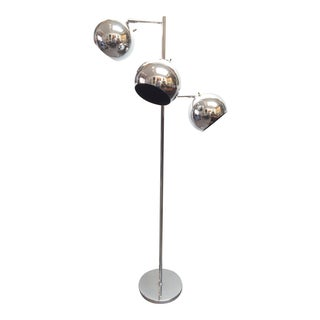 Robert Sonneman 1970's Chrome 3-Light Floor Lamp