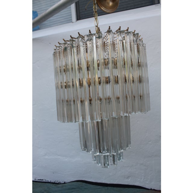Venini Three-Tiered Glass Prism Chandelier. - Image 5 of 11