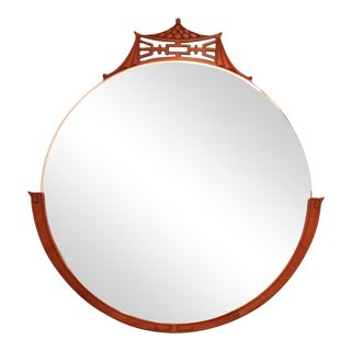 Rway Blonde Mahogany Pagoda & Greek Key Mid-Century Round Wall Mirror