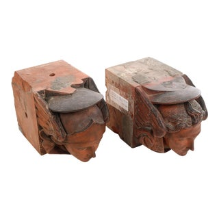18th c. Rare Figural Terracotta Angel Heads Bricks from William Gladstone House-a Pair