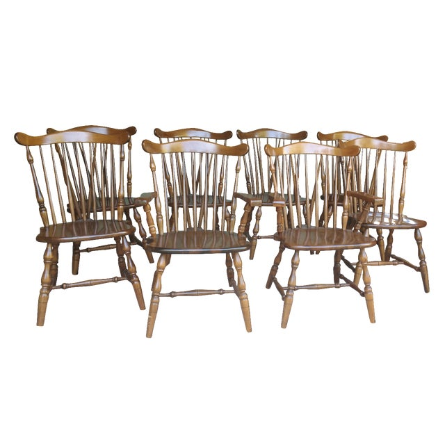 Image of Antique Heirloom Fiddle Back Chairs - Set of 8