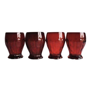Vintage Red Glasses - Set of 4