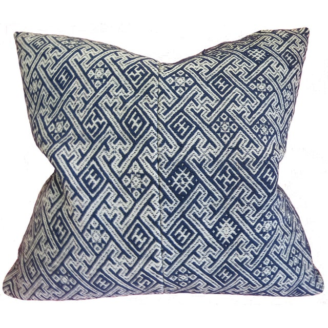 New Hmong Indigo Wedding Blanket Pillow - Image 1 of 4