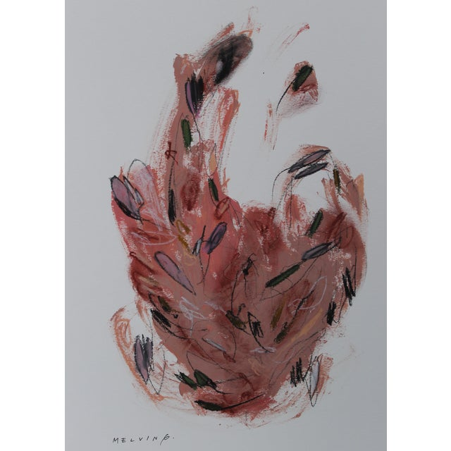 "Melvin G ""Una Piuma Rosa"" Mixed Media Painting - Image 1 of 2"