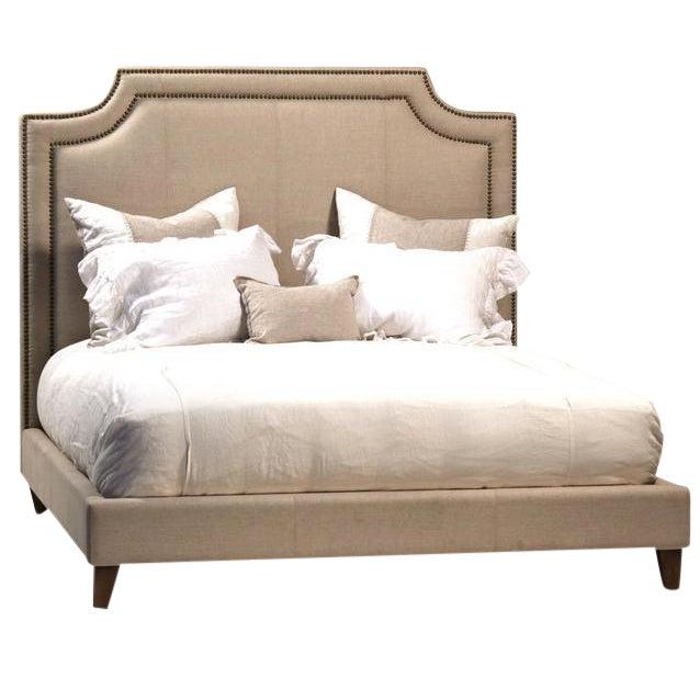 linen upholstered bed frame eastern king chairish. Black Bedroom Furniture Sets. Home Design Ideas