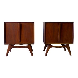Mid-Century Modern Nightstand End Tables - A Pair