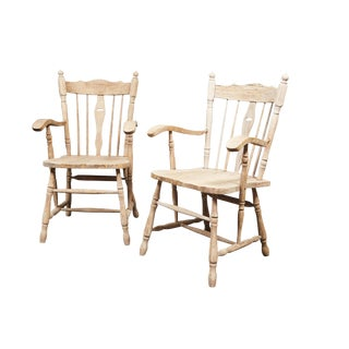 19th C. English Bleached Oak Armchairs - A Pair