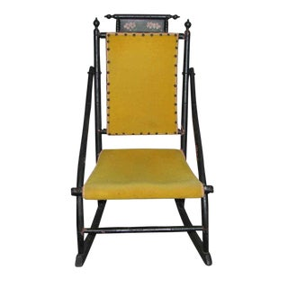 Victorian Rocker With Studded Yellow Upholstery