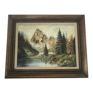 Vintage Landscape Painting of a Lake & Mountains