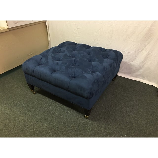 Image of Tufted Blue Suede Ottoman