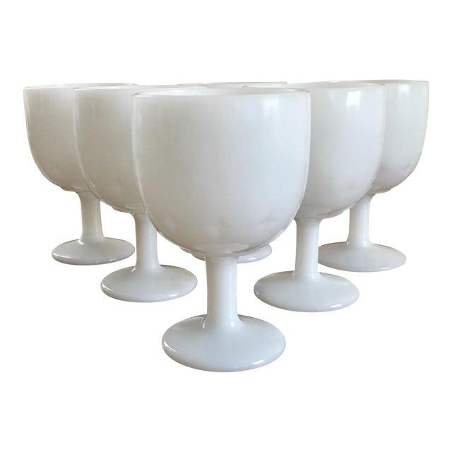 Image of Atomic Starburst Milk Glass Goblets - Set of 6