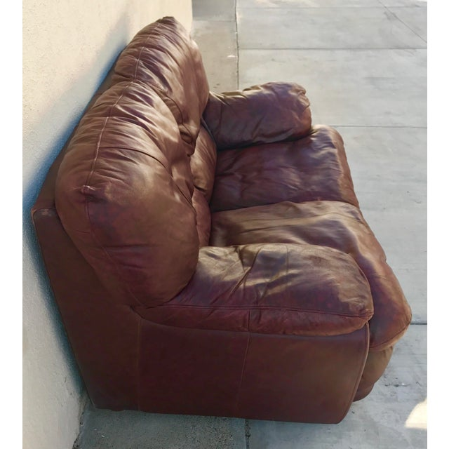 Klaussner Overstuffed Bonded Leather Loveseat - Image 8 of 10