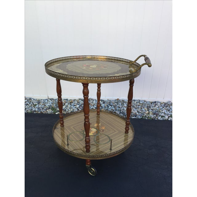 Vintage Sorrento Italian Lacquered Marquetry Bar Cart - Image 2 of 8