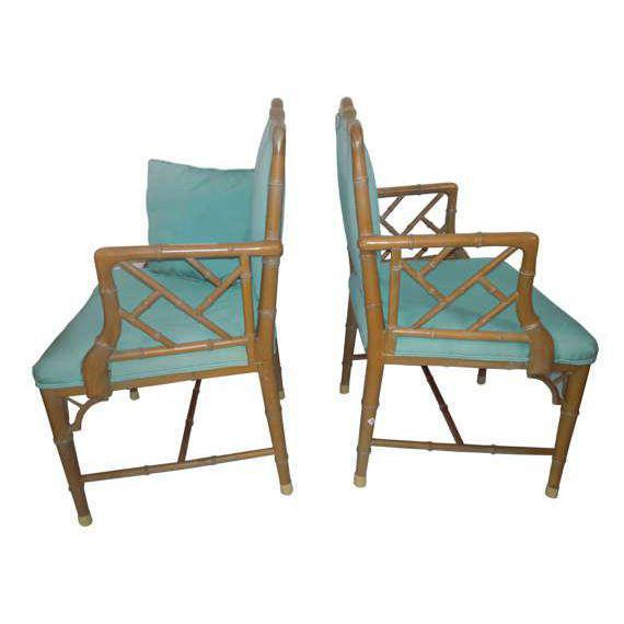 Chinese Chippendale Regency Faux Bamboo Turquoise Chairs - a Pair - Image 3 of 6