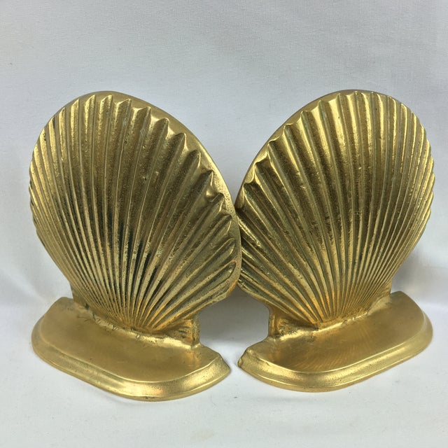 Mid-Century Brass Shell Bookends - A Pair - Image 2 of 7