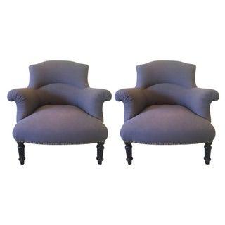 Diminutive Linen Slipper Chairs - Pair