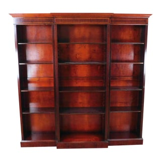1990s Inlaid Banded Mahogany English Georgian Style Bookcase