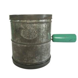 Vintage Duplex 5 Cup Metal Cake Flour Sifter